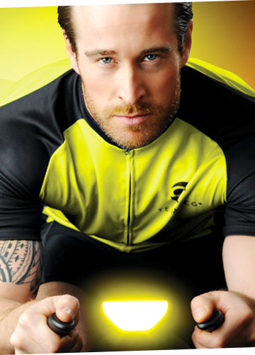 Spin class man yellow